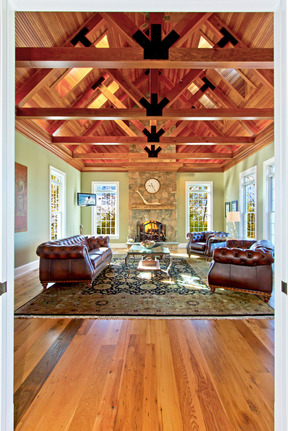 Great Room w/ Dramatic Exposed Truss Work, Gas Fireplace & Skylights