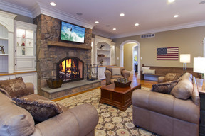 Family Room Off of Kitchen & Stone Woodburning Fireplace