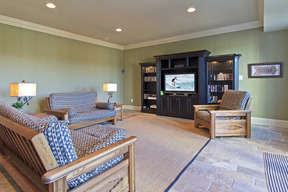 Lower Level TV Area w Walk-out French Doors