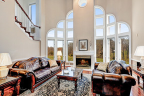 Family Room & Dramatic Stepped Window Wall