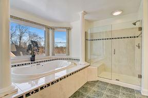 Master Bath, Jetted Tub & Frameless Shower