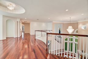 Circle Tray Ceiling & Feature Lighting Above Upper Level Sitting Loft