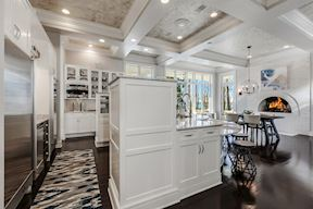 Kitchen w/ Coffered Ceiling & Gas Fireplace