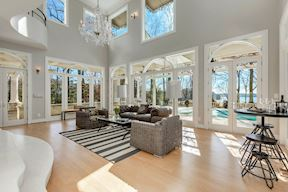 Waterside Sun Room w/ French Doors to Wrap Around Porch & Pool Deck