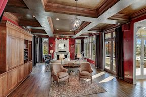 Living Room w/Media Built-ins, Gas Fireplace & Coffered Ceiling