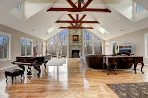 Great Room w/ Dramatic Exposed Trusses