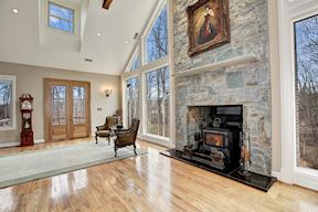 Over-sized Stone Fireplace w/ Wood Stove Insert