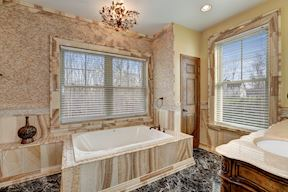 Main Level Bath w/ Onyx Wall, Tub & Shower