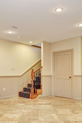 Lower Level  Stair #2 Reception Area w/Wainscoting and Closet