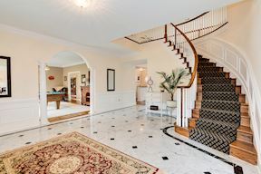 Grand Entry Foyer with Marble & Curved Stair