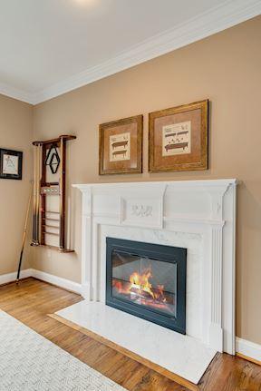 Living Room Wood Burning Fireplace & Mantle