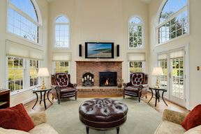 Light-Filled 2-Story Family Room/ Great Room Bathed in Light from Clerestory Windows