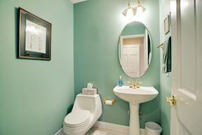 Main Level Powder Room w/Soft Seafoam Wall Paint