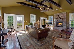 Guest Quarters/Second Family Room & Stone Fireplace