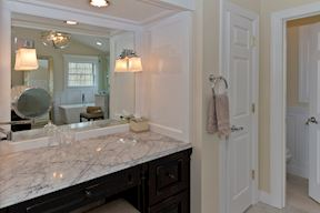 Master Bath Dressing Table with Feature Lighting