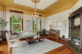 Living Room w/ Orig. FP, Italian Tile, & Walnut Mantle