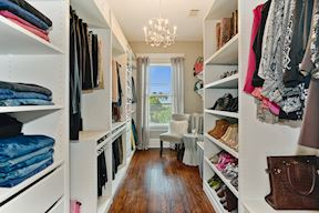 Master Bath Her Walk-In Closet w/ Pull-Out Shelving