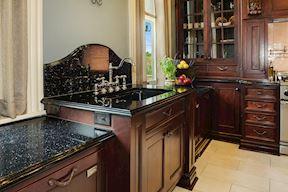 Kitchen Sink & Curved Backslash w/ 11 ft Lighted Cabinetry