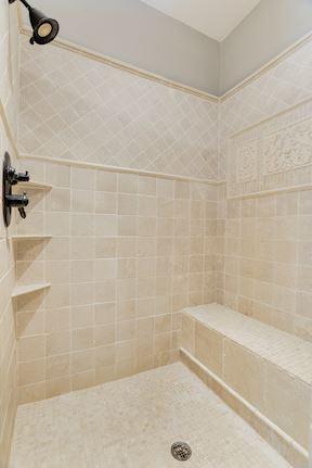Master Shower w/ Marble Tile, 2 Shower Heads & 2 Body Sprays