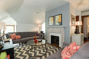 2nd Upper Level Family Room w/ Decorative Fireplace