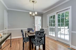 Dining Room with French Doors to the Rear Deck