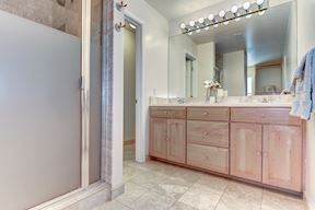Master Bath Glass-Enclosed Shower and Water Closet
