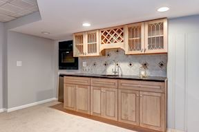 Lower Level Wet Bar with Beverage Refrigerator