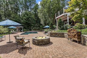 Poolside Stone Fire Pit