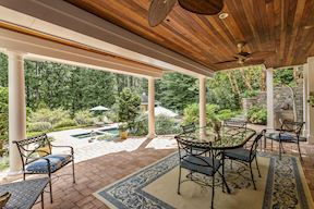 Covered Dining Patio with Mahogany Ceiling