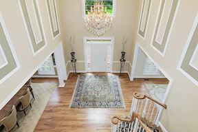 Two Story Foyer with Shadow Box Molding Detail