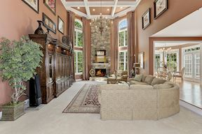 Two Story Family Room, Coffered Ceiling, and Chandelier