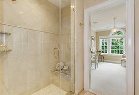 Framless Glass Shower with Accent Designer Tile