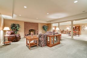 Lower Level Recreation Room w// Fireplace