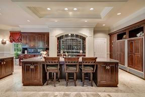 Breakfast Bar w/Feature Cloud Ceiling & Lighting Above