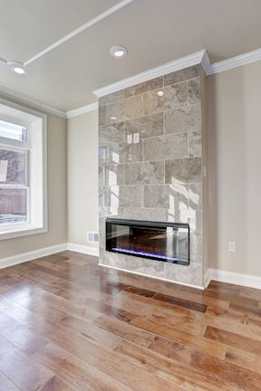 Stacked Porcelain Tile Electric Fireplace